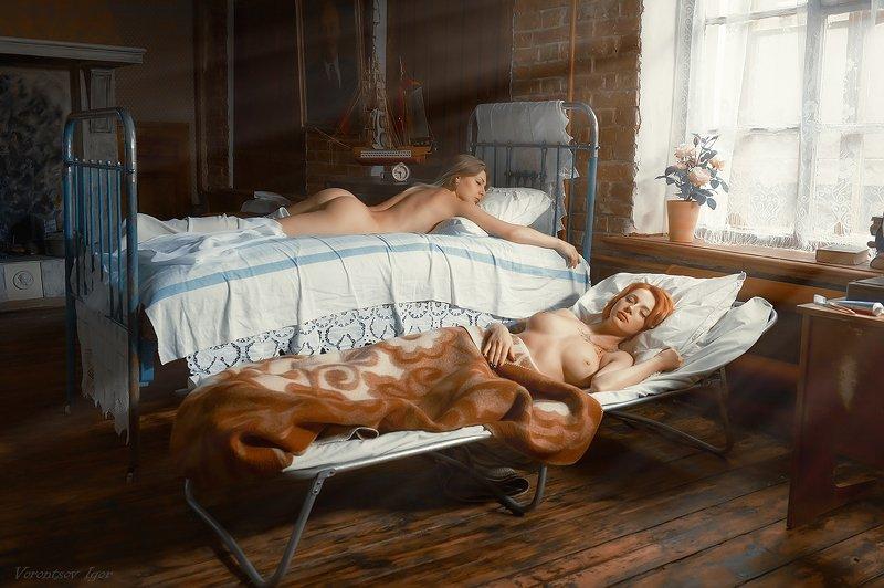 ню, девушки, грудь, обнажённая, красивая, окно, кровать, винтаж photo preview