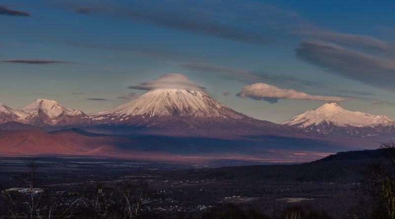 камчатка, корякский, вулкан, закат Примерочная шляпкаphoto preview