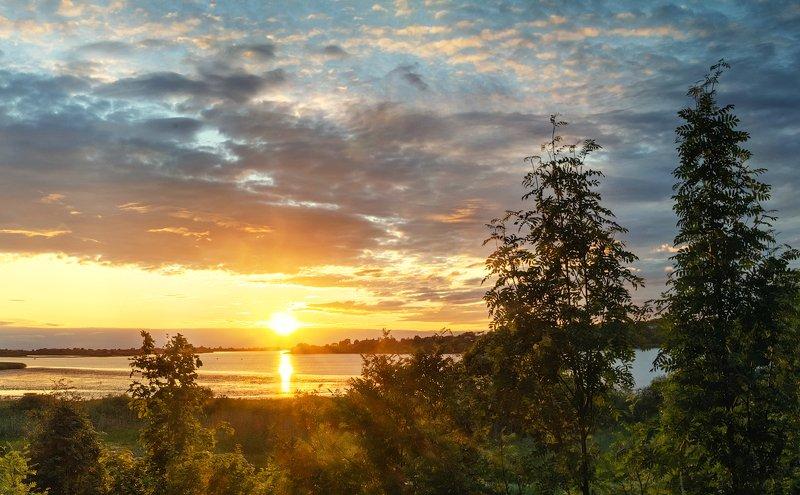 великая, псковская, лето, река Закат над Великой. Июльphoto preview