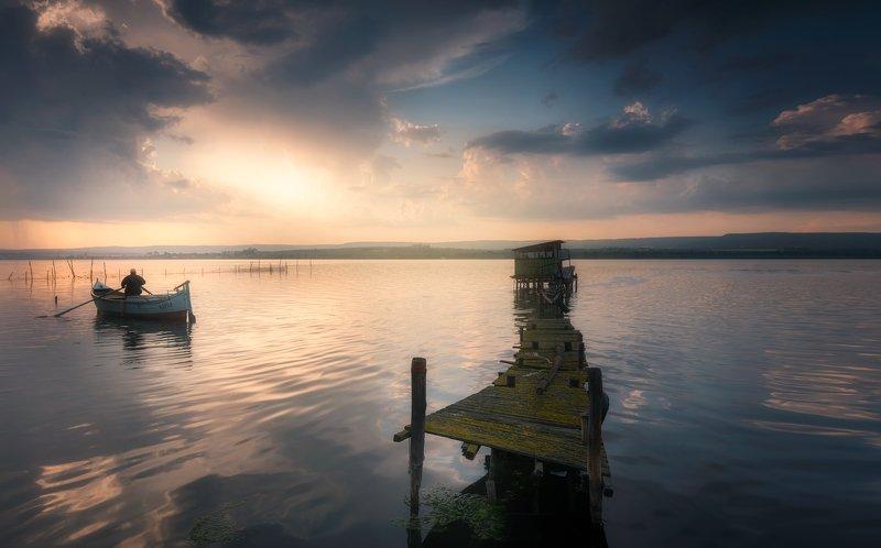 Sunset at lake photo preview