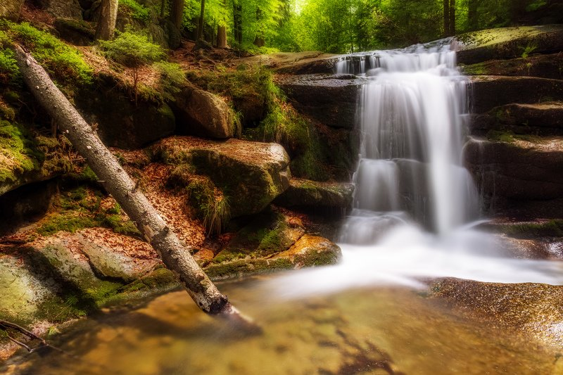 waterfall, cascade, river, light, mountains, rocks, water, long exposure Waterfall on the Myja Riverphoto preview