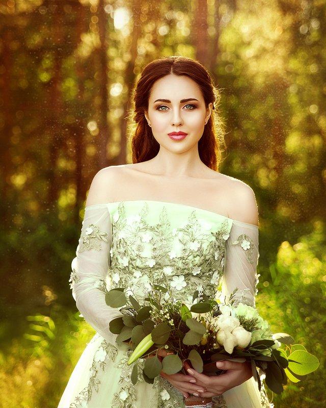 portrait, woman, sunset, summer, outdoor, yellow, девушка, портрет, закат, лето, природа, желтый, зеленый photo preview