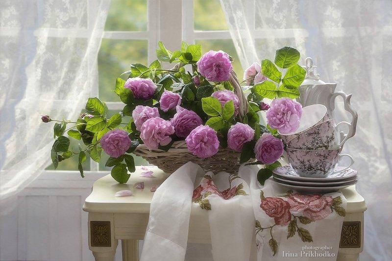 натюрморт, розы, букет, интерьер,  утро Утренний натюрморт с розамиphoto preview