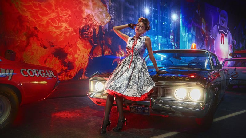 портрет, стритфото, жанр, модель, авто, ночь, rekhov Вспоминая 60-е...photo preview