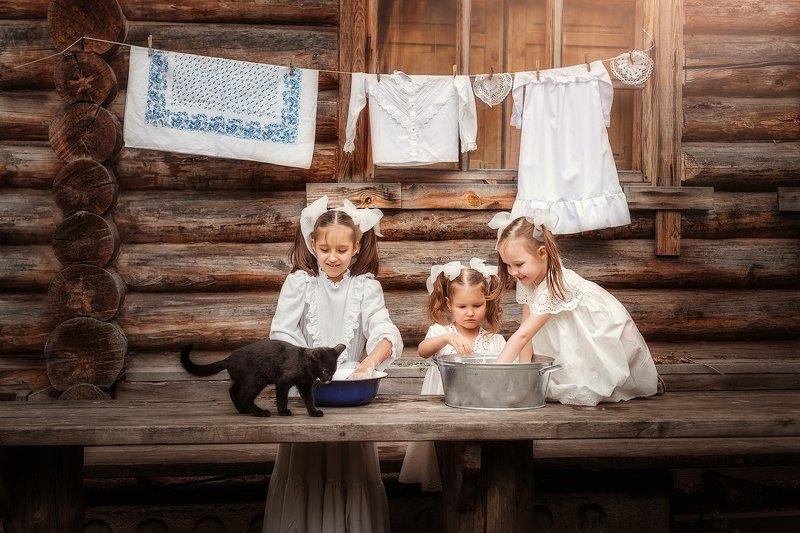 дети, девочка, кот, kids Мамины помощницыphoto preview