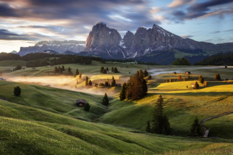 alpe di siusi, dolomites, italy, sunrise, италия, доломиты Seiser Almphoto preview