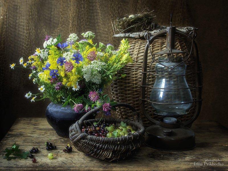 натюрморт, ретро, винтажный, фонарь, полевые цветы, лето, корзина ягод, чугунный горшок Лето в старом сарайчикеphoto preview