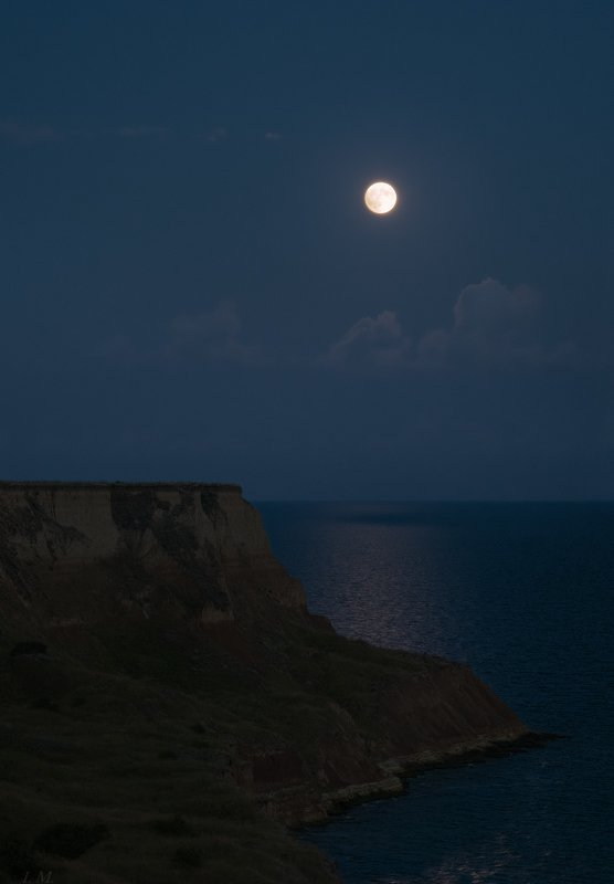 ночь, луна, мыс, море, лунный свет, облака, landscape, sea, moon, light, clouds, night, panorama, nightscape Terra Incognitaphoto preview
