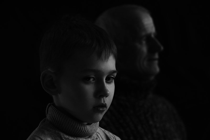 grandfather, portrait, black and white, man, old man, old, young boy, boy, generation Generationphoto preview