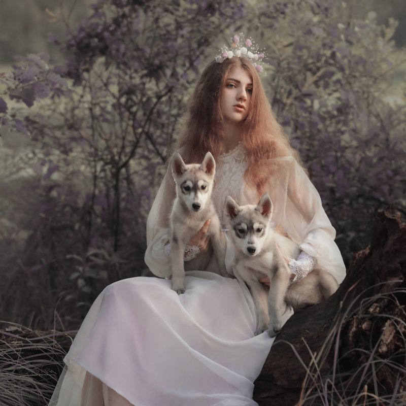 portrait, girl, woman, nymph,girl and dogs, girl and nature, puppy Nymphphoto preview
