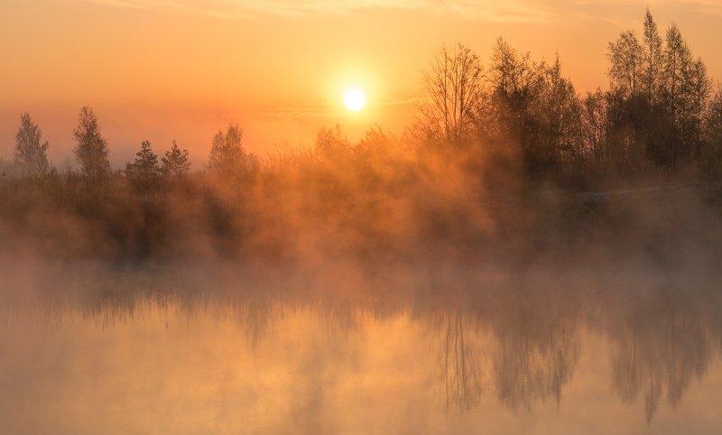 псков, туман, утро, рассвет, природа, вода, небо Туманный рассветphoto preview