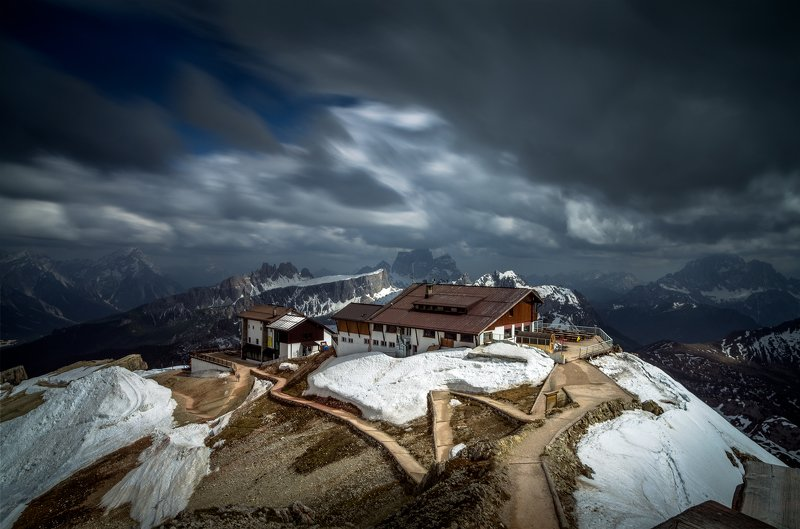 landscape, nature, scenery, spring, snow, ice, clouds, peak, peaks, hut, longexposure, clouds, mountain, panorama, dolomiti, пейзаж, весна, горы The song of the windphoto preview