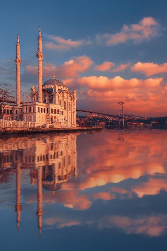 ortakoy mosque, istanbul,  mosque, reflection, sunset, water, вода, закат, мечеть, стамбул, турция, Ortakoy Mosque in Istanbulphoto preview