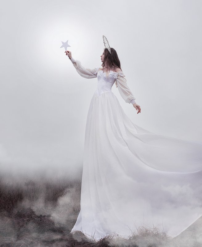 portrait, girl, woman, nymph,girl and star, girl and nature, fog, star, white dress, girl in fog, mist White starphoto preview
