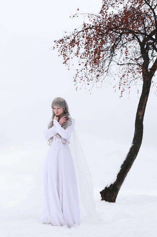 portrait, girl, woman, nymph, girl and nature, wild ash, snow, white, winter Wild ashphoto preview