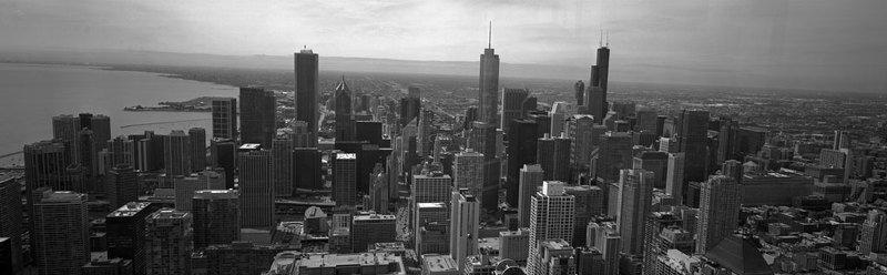 панорама, городской пейзаж, США, Чикаго, ч/б, пленка, архитектура. Чикагоphoto preview