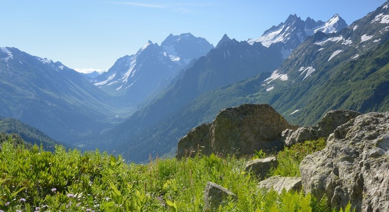 горы лето кавказ домбай Вершины Домбаяphoto preview