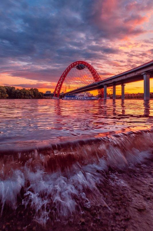 мост, москва, закат, живописный мост, серебрянный бор, небо Живописный мост на закатеphoto preview