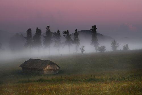 Туманный вечер в Румынии