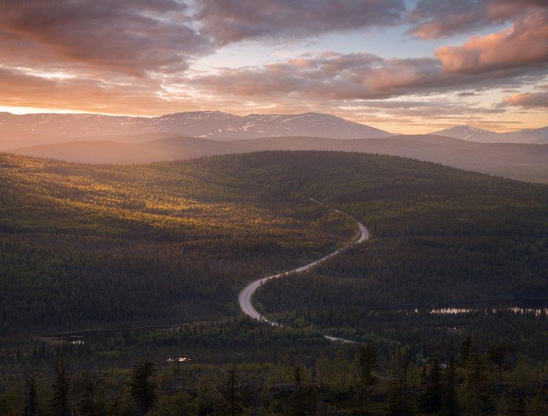 пейзаж,россия,небо,закат,панорама,кольский север,свет,солнце,лето photo preview