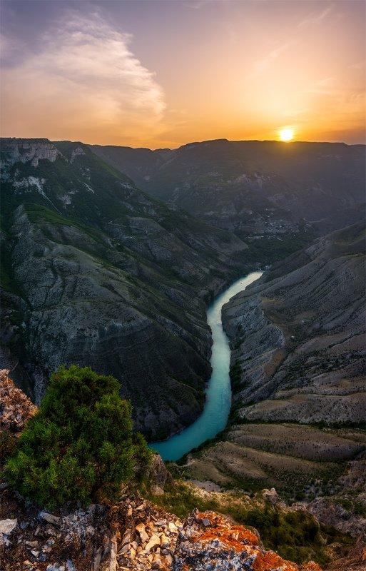 природа, пейзаж, горы, кавказ, природа россии, дикая природа, закат, свет, облака, вечер, весна, Сулакский каньонphoto preview