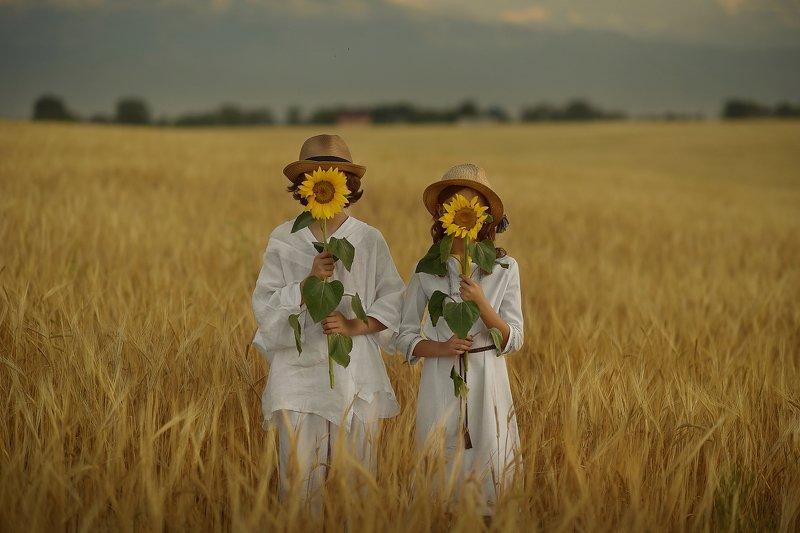 детский портрет, дети, детская фотография, пшеничные поля, любовь Над пропасть во ржиphoto preview