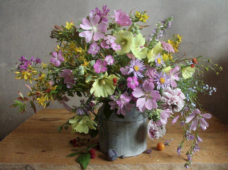 лето, натюрморт, букет цветов, мальвы, марина филатова Я вдохну аромат тех цветов луговыхphoto preview