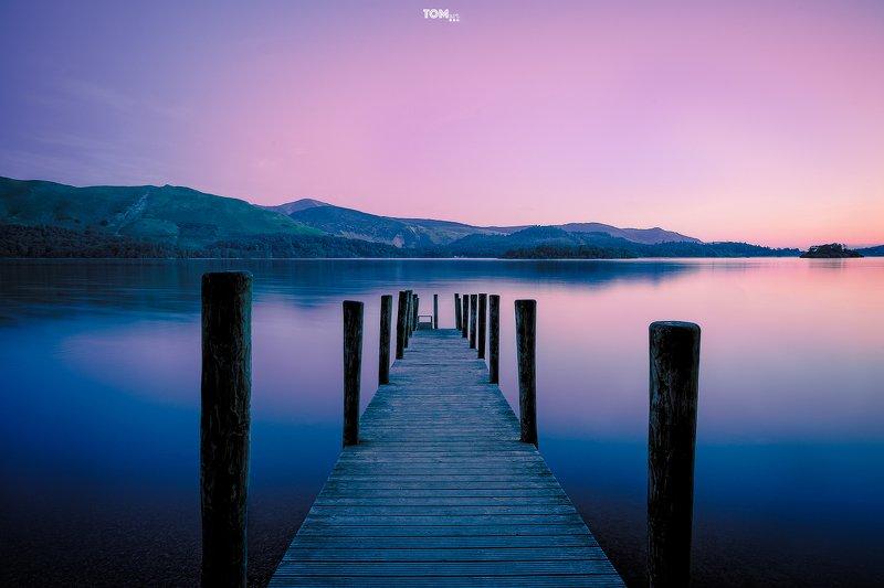symmetry jetty bridge composition framing ruleofthirds purple orange blue navy morning sunrise england lakedistrict \