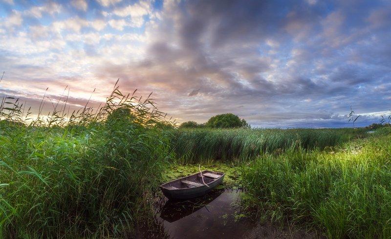 закат, пейзаж, река, лодка, псков ***photo preview