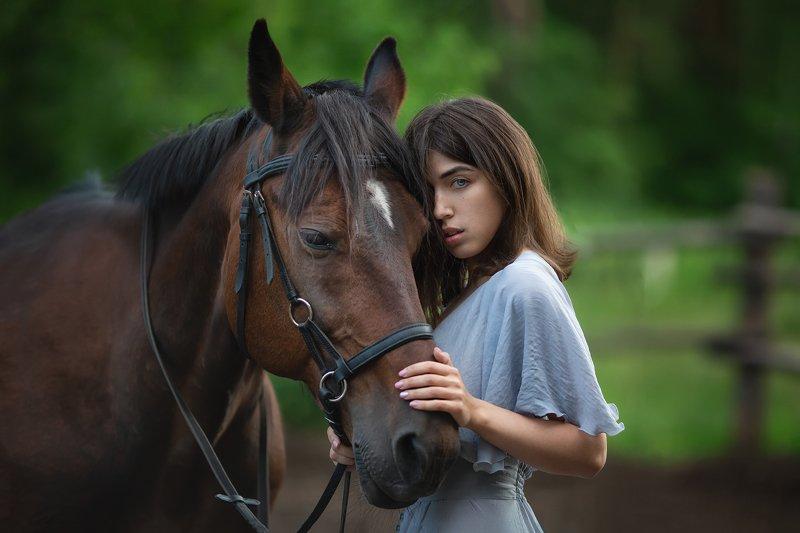 Модель, лошадь, девушка Аняphoto preview