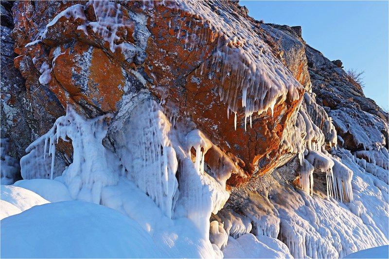 озеро, лёд, зима, февраль, холод, камень, Б/Н.photo preview
