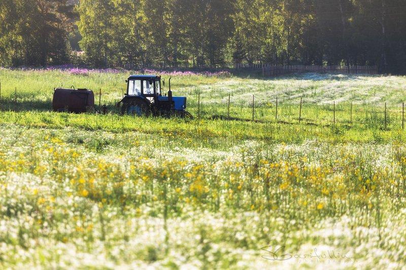 Урал, Средний Урал, трактор, пейзаж, лето, деревня жаркий летний день в деревнеphoto preview