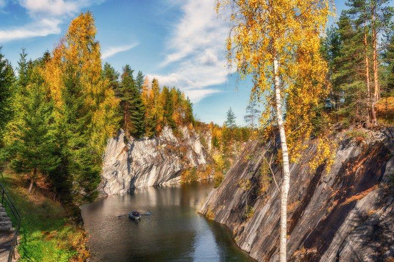 рускеала, карелия, озеро, каньон, мраморный, осень, горы Мраморный каньонphoto preview