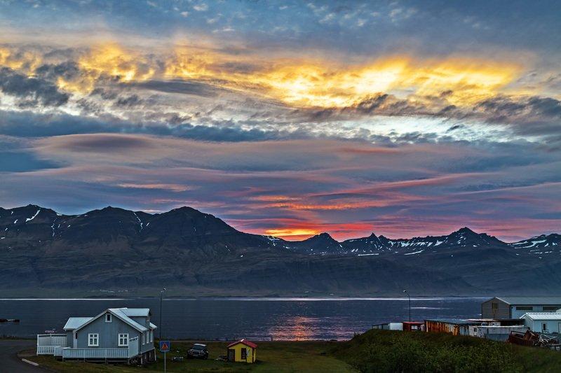 пейзаж, лето, природа, исландия, ладшафт, восход, фьйорды восход во фьйордахphoto preview