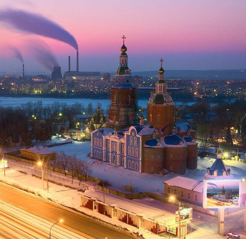 ульяновск, вечер, зима, город, городской пейзаж photo preview