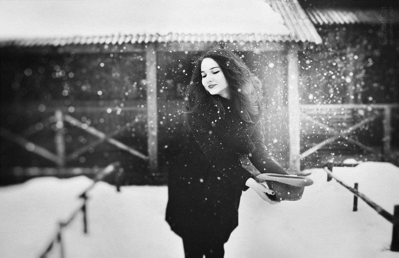 carrotcat , bw , portrait , winter , snow snow!photo preview
