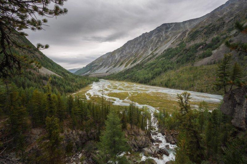 горы, облака, природа, алтай, рассвет, река, путешествие, россия, озеро Разлив на реке Кучерлаphoto preview