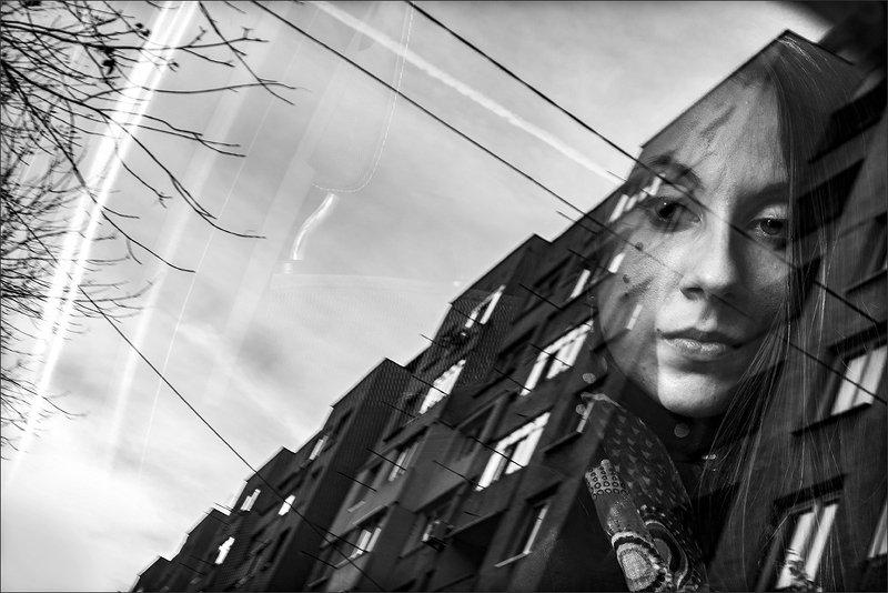 mirrored, отражение, чб, портрет, portrait, bw OneShotphoto preview