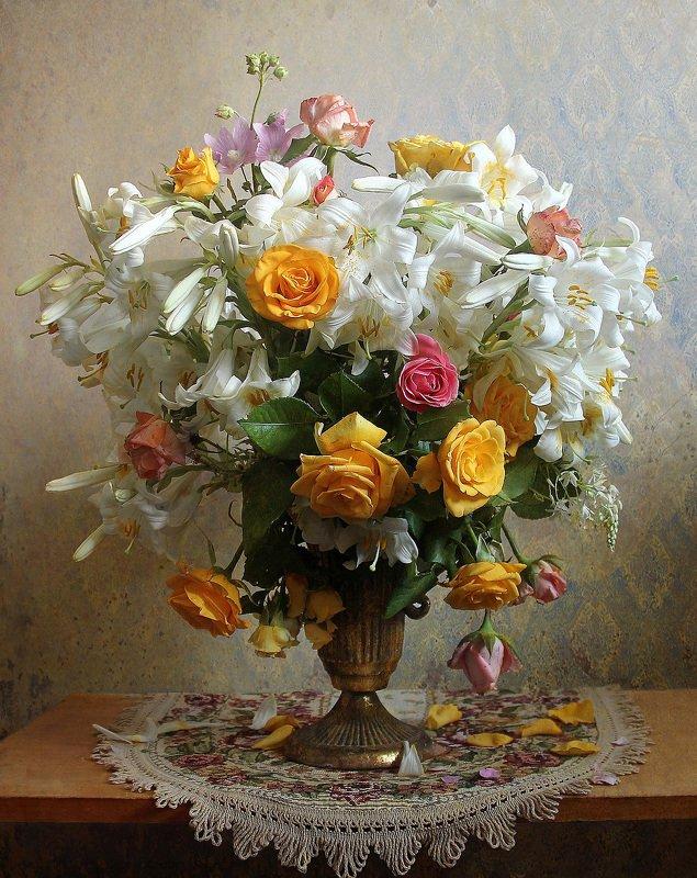 лето,  цветы, натюрморт, марина филатова, лилии, розы ***photo preview