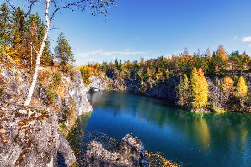 карелия, рускеала, озеро, парк, мраморный, каньон Рускеалаphoto preview