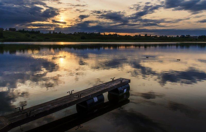 закат, вечер, река, отражения, россия Вечерphoto preview