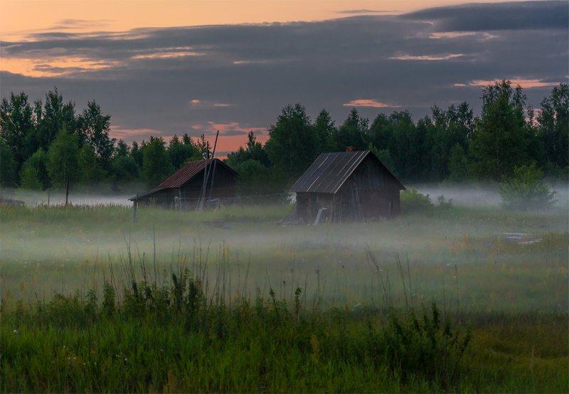 природа, пейзаж, лето, закат, вечер, туман, россия, небо, облака, деревня Летний вечер фото превью