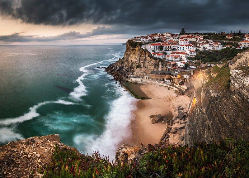 ocean, night, sunset, portugal, coast, clouds, atlantic, light, sun, village, cliff, dramatic, moody, storm, Atlanticophoto preview