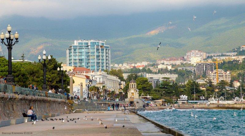 ялта, крым, чёрное море, город, набережная, чайки Ялтаphoto preview