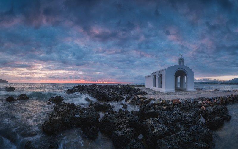 греция, крит, рассвет, море, церковь В рассветном мгновенииphoto preview