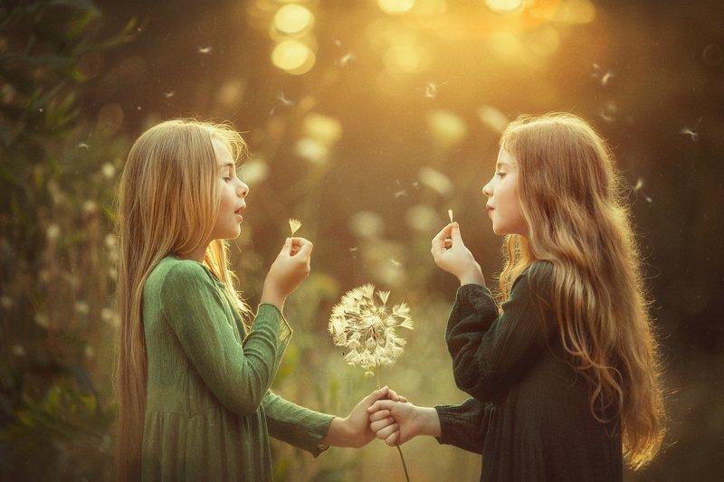 детская съемка девочки одуванчик Одно на двоих - желаниеphoto preview