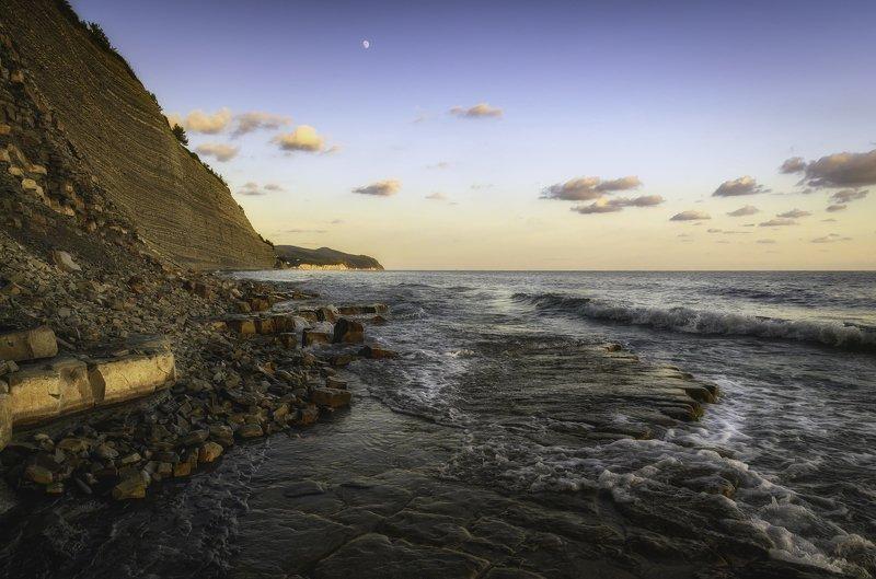 пляж закат море волны выдержка природа пейзаж путешествие Black sea.photo preview