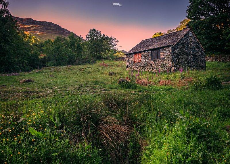 window windows old house stone mountains lakedistrict england uk lakes green grass flowers purple magenta sunrise morning building vintage retro trees yellow  \
