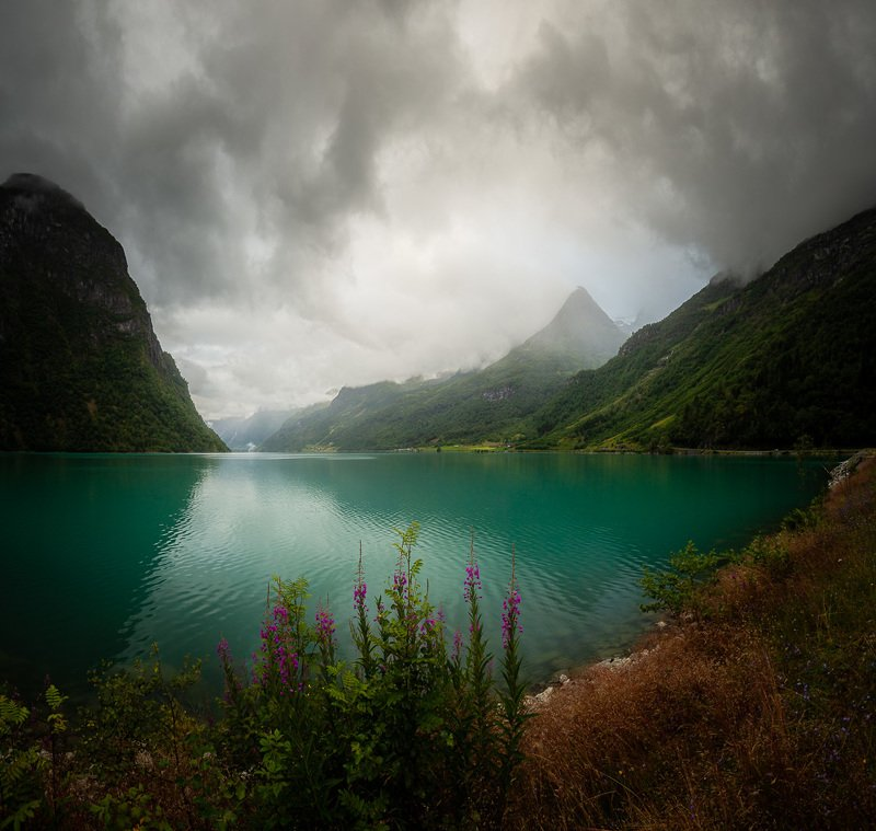 norway,norwegian,olden,oldevatnet,lake,sky,clouds,stormy,cloudy,evening,moody,mood,mountains,sogn og fjordane Stormy summer nightphoto preview