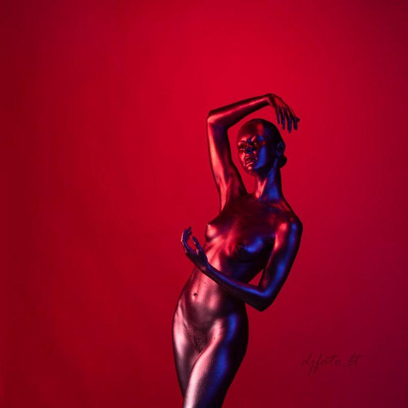djfoto, nude art photography, nudevilnius, Vilnius, body art, body painting, metallography Lady in Redphoto preview